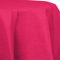 Creative Converting 923277 82 inch Hot Magenta OctyRound Tissue / Poly Table Cover