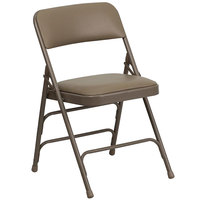 Beige Metal Folding Chair with 1 inch Padded Vinyl Seat