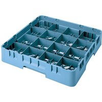 Cambro 16S318414 Camrack 3 5/8 inch High Teal 16 Compartment Glass Rack