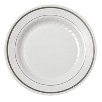 Fineline Silver Splendor 506WH White 6 inch Plastic Plate with Silver Bands - 150 / Case