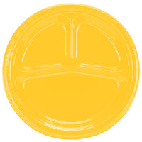 Creative Converting 019269 10 inch 3 Compartment School Bus Yellow Plastic Plate - 20/Pack