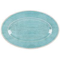 Carlisle 6402115 Grove 14 inch x 20 inch Aqua Oval Melamine Tray - 4 / Case