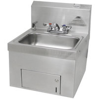 Advance Tabco 7-PS-65 Wall Mounted Hand Sink with Undermount Paper Towel Dispenser - 17 1/4 inch x 17 1/4 inch