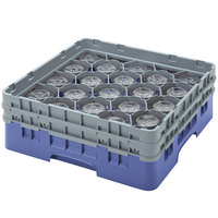 Cambro 20S638168 Camrack 6 7/8 inch High Blue 20 Compartment Glass Rack