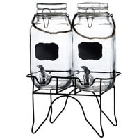 Double 1 Gallon Style Setter Newcastle Glass Beverage Dispenser with Metal Stand