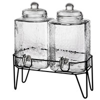 Double 1.5 Gallon Style Setter Hamburg Glass Beverage Dispenser with Metal Stand
