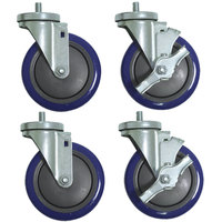 Advance Tabco TA-255P 5 inch Enclosed Base Table Swivel Stem Casters - 4/Set