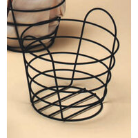 American Metalcraft BWB970 Round Black Wire Basket with Handles - 9 inch x 7 inch