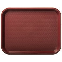 Carlisle CT101461 Customizable Cafe 10 inch x 14 inch Burgundy Standard Plastic Fast Food Tray - 24/Case
