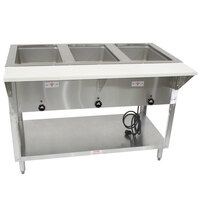 Advance Tabco SW-3E-T Three Pan Electric Hot Food Table with Thermostatic Control and Undershelf - Sealed Well