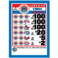 AMVETS Criss Cross 3 Window Pull Tab Tickets - 2627 Tickets per Deal - Total Payout: $2276
