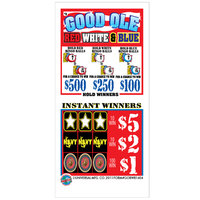 Good Ole Red, White, & Blue 5 Window Pull Tab Tickets - 1404 Tickets per Deal - Total Payout: $1020