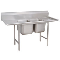 Advance Tabco 93-62-36-18RL Regaline Two Compartment Stainless Steel Sink with Two Drainboards - 77 inch