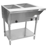 Advance Tabco SW-2E-T Two Pan Electric Hot Food Table with Thermostatic Control and Undershelf - Sealed Well, 120V