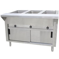 Advance Tabco SW-3E-DR-T Three Pan Electric Hot Food Table with Thermostatic Control, Enclosed Base, and Sliding Doors - Sealed Well, 120V