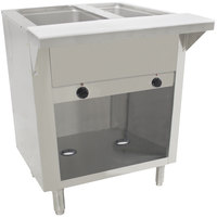 Advance Tabco SW-2E-BS-T Two Pan Electric Hot Food Table with Thermostatic Control and Enclosed Base - Sealed Well, 120V