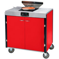 Lakeside 2065 Creation Express Mobile Cooking Cart with 1 Induction Burner, 1 Filtration Unit, and Red Laminate Finish - 22 inch x 34 inch x 40 1/2 inch