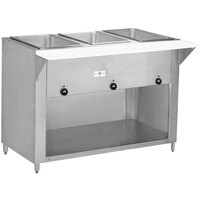 Advance Tabco SW-3E-BS-T Three Pan Electric Hot Food Table with Thermostatic Control and Enclosed Base - Sealed Well