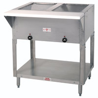Advance Tabco SW-2E-T Two Pan Electric Hot Food Table with Thermostatic Control and Undershelf - Sealed Well