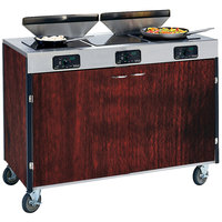 Lakeside 2085 Creation Express Mobile Cooking Cart with 3 Induction Burners, 2 Filtration Units, and Red Maple Laminate Finish - 22 inch x 48 inch x 40 1/2 inch