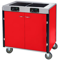 Lakeside 2075 Creation Express Mobile Cooking Cart with 2 Induction Burners, 1 Filtration Unit, and Red Laminate Finish - 22 inch x 34 inch x 40 1/2 inch