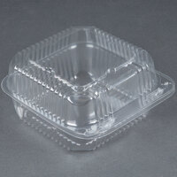 Durable Packaging PXT-600 6 inch x 6 inch x 3 inch Clear Hinged Lid Plastic Container - 125 / Pack