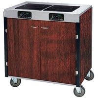 Lakeside 2070 Creation Express Mobile Cooking Cart with 2 Induction Burners, No Exhaust Filtration, and Red Maple Laminate Finish - 22 inch x 34 inch x 35 1/2 inch