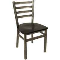 BFM Seating 2160CBLW-CL Lima Steel Side Chair with Black Wooden Seat and Clear Coat Frame