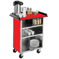 Lakeside 636 Stainless Steel Beverage Service Cart with 3 Shelves and Red Laminate Finish - 30 1/4 inch x 21 inch x 38 1/4 inch