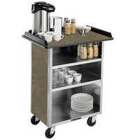Lakeside 636 Stainless Steel Beverage Service Cart with 3 Shelves and Beige Suede Laminate Finish - 30 1/4 inch x 21 inch x 38 1/4 inch