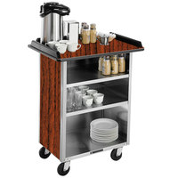 Lakeside 681 Stainless Steel Beverage Service Cart with 3 Shelves and Victorian Cherry Laminate Finish - 58 3/8 inch x 24 inch x 38 1/4 inch