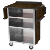 Lakeside 672 Stainless Steel Drop-Leaf Beverage Service Cart with 3 Shelves and Walnut Laminate Finish - 33 1/8 inch x 21 inch x 38 1/4 inch