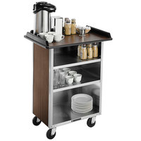 Lakeside 636 Stainless Steel Beverage Service Cart with 3 Shelves and Walnut Laminate Finish - 30 1/4 inch x 21 inch x 38 1/4 inch