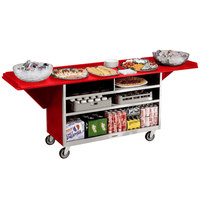 Lakeside 676 Stainless Steel Drop-Leaf Beverage Service Cart with 3 Shelves and Red Laminate Finish - 61 3/4 inch x 24 inch x 38 1/4 inch
