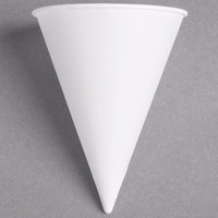 Dart Solo 5RB-2050 Bare Eco-Forward 5 oz. White Rolled Rim Paper Cone Cup with Poly Bag Packaging - 5000/Case
