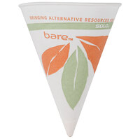 Dart Solo 6RB-J8614 Bare Eco-Forward 6 oz. Printed Rolled Rim Paper Cone Cup with Leaf Design and Poly Bag Packaging - 5000 / Case