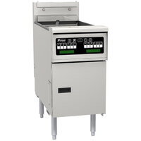 Pitco SE14TX-VS5 40-50 lb. Split Pot Solstice Electric Floor Fryer with 5 inch Touchscreen Controls - 14kW