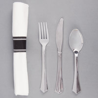 Silver Visions 17 inch x 17 inch Pre-Rolled Linen-Feel White Napkin and Silver Heavy Weight Plastic Cutlery Set - 25 / Pack