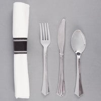 "Silver Visions 17"" x 17"" Pre-Rolled Linen-Feel White Napkin and Silver Heavy Weight Plastic Cutlery Set - 25/Pack"