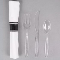 Visions 17 inch x 17 inch White Pre-Rolled Linen-Feel Napkin and Clear Heavy Weight Plastic Cutlery Set - 25/Pack