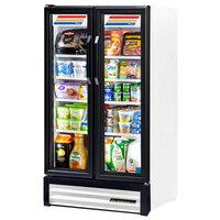 True GDM-30-LD White Glass Swing Door Merchandiser Refrigerator with LED Lighting