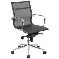 Mid-Back Black Mesh Executive Office Chair with Chrome Arms and Tilt Adjustment