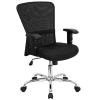 Mid-Back Black Mesh Office / Computer Chair with Adjustable T-Arms and Chrome Base