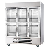 Beverage-Air FB72-5HG 75 inch Vista Series Three Section Glass Half Door Reach-In Freezer - 72 cu. ft.