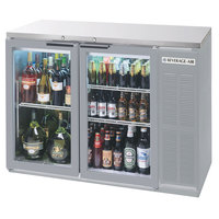 Beverage-Air BB48GY-1-S-27-PT 48 inch Stainless Steel Glass Door Pass-Through Back Bar Refrigerator with 2 inch Stainless Steel Top