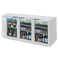 Beverage-Air BB72GY-1-S-PT-LED 72 inch Stainless Steel Glass Door Pass-Through Back Bar Refrigerator
