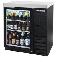 Beverage-Air BB36G-1-B-27-LED 36 inch Black Glass Door Back Bar Refrigerator with 2 inch Stainless Steel Top