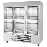 Beverage-Air RB72-1HG 75 inch Vista Series Three Section Glass Half Door Reach-In Refrigerator - 72 cu. ft.
