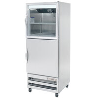 Beverage-Air RID18-HGS 27 inch One Section Glass and Solid Half Door Pass-Through Refrigerator - 18 cu. ft.