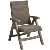 Grosfillex Java CT406181 Wicker Resin Folding Chair - Taupe Frame / Moccacino Weave - 2/Pack